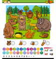 counting animals cartoon game vector image vector image