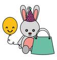 cute rabbit birthday gift balloon vector image vector image