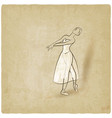 dancing ballerina sketch old background vector image vector image
