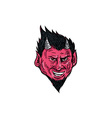 Demon Horns Goatee Head Drawing vector image vector image