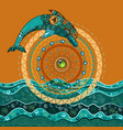 dolphin in the sea in the sun-4 vector image vector image