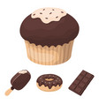 donut with chocolate zskimo shokolpada tile vector image vector image