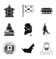 eastern culture icons set simple style vector image vector image