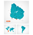 editable template map uruguay with marks vector image vector image