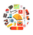 expedition equipment set hiking camping and vector image