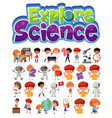 explore science logo and set children vector image vector image