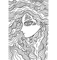 fantastic shaman girl - doodle coloring page for vector image vector image