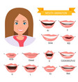 female mouth animation phoneme mouth chart vector image vector image