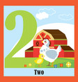 flat animal numbers 2 vector image vector image