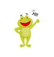 friendly frog waving paw and saying hi cheerful vector image vector image
