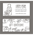 Gift certificate with cosmetic bottles Organic vector image