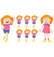 Girl in pink with different expressions vector image vector image