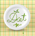 Green menu word on plate