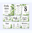 greenery wedding invite menu thank you card set vector image vector image