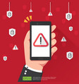 hand holding phone with attention warning alert vector image vector image