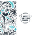 happy christmas dinner design template vector image vector image