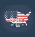 happy memorial day flag in map national blue vector image