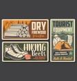 hiking boots camping tourism equipment shop vector image