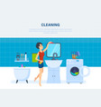 housewife in bathroom is engaged in cleaning