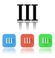 iii roman numeral icons colored set with vector image vector image