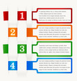 infographics four steps different colors vector image