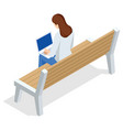 isometric young woman is sitting on a bench vector image vector image