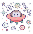 japanese kawaii cat travels in space and a set of vector image
