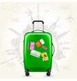 journey round-the-world - suitcase and sights vector image vector image