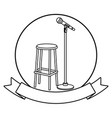 microphone and chair round icon black and white vector image vector image