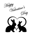 Monochrome silhouette of two rabbits and a heart vector image vector image