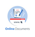 online government services submit document vector image vector image