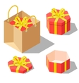 Opened and closed present gift hexagonal boxes vector image vector image