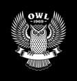 owl emblem on black vector image vector image