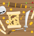 pirate icon symbol wood table background concept vector image vector image