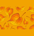 red and orange autumn leaves yellow background vector image vector image