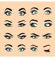 Set of cartoon eyes 2 vector image vector image