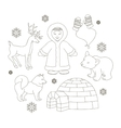 set of eskimo characters vector image