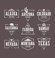 set of us states vintage t-shirt and vector image