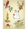 set of vintage hand drawn christmas elements vector image