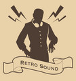 silhouette of dj retro style with headphones and vector image vector image