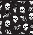 skull and skeleton hand seamless pattern on black vector image vector image
