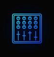 sound mixer blue outline icon on dark vector image