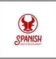 spanish bar tapas food logo template vector image vector image