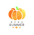 summer menu logo badge for vegetarian restaurant vector image