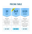 template pricing tables flat set editable hosting vector image