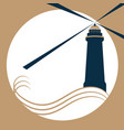 the lighthouse on the waves gives a light signal vector image vector image