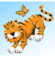 Tiger and butterfly vector image vector image