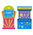 two colorful retro game machines pacman vector image