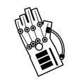 vr wired glove interaction 3d outline vector image