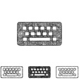 Wireless keyboard icon set - sketch line art vector image vector image